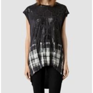 All saints hex top tunic snakeskin print black L
